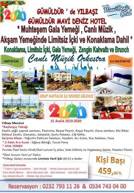 Gümüldür Mavi Deniz Otel Yılbaşı 2020
